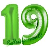 Zahl 19 Grün, Luftballons aus Folie zum 19. Geburtstag, 100 cm, inklusive Helium