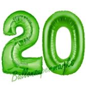 Zahl 20 Grün, Luftballons aus Folie zum 20. Geburtstag, 100 cm, inklusive Helium