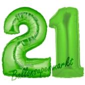 Zahl 21 Grün, Luftballons aus Folie zum 21. Geburtstag, 100 cm, inklusive Helium