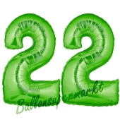 Zahl 22 Grün, Luftballons aus Folie zum 22. Geburtstag, 100 cm, inklusive Helium