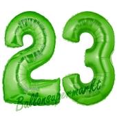 Zahl 23 Grün, Luftballons aus Folie zum 23. Geburtstag, 100 cm, inklusive Helium