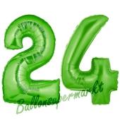Zahl 24 Grün, Luftballons aus Folie zum 24. Geburtstag, 100 cm, inklusive Helium