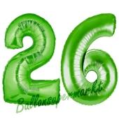Zahl 26 Grün, Luftballons aus Folie zum 26. Geburtstag, 100 cm, inklusive Helium