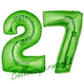 Zahl 27 Grün, Luftballons aus Folie zum 27. Geburtstag, 100 cm, inklusive Helium