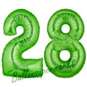 Zahl 28 Grün, Luftballons aus Folie zum 28. Geburtstag, 100 cm, inklusive Helium