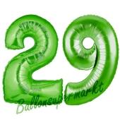 Zahl 29 Grün, Luftballons aus Folie zum 29. Geburtstag, 100 cm, inklusive Helium