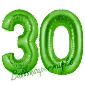 Zahl 30 Grün, Luftballons aus Folie zum 30. Geburtstag, 100 cm, inklusive Helium