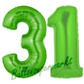 Zahl 31 Grün, Luftballons aus Folie zum 31. Geburtstag, 100 cm, inklusive Helium