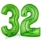 Zahl 32 Grün, Luftballons aus Folie zum 32. Geburtstag, 100 cm, inklusive Helium