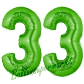 Zahl 33 Grün, Luftballons aus Folie zum 33. Geburtstag, 100 cm, inklusive Helium