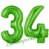 Zahl 34 Grün, Luftballons aus Folie zum 34. Geburtstag, 100 cm, inklusive Helium