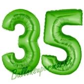 Zahl 35 Grün, Luftballons aus Folie zum 35. Geburtstag, 100 cm, inklusive Helium