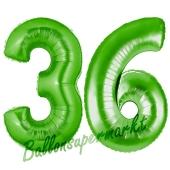 Zahl 36 Grün, Luftballons aus Folie zum 36. Geburtstag, 100 cm, inklusive Helium
