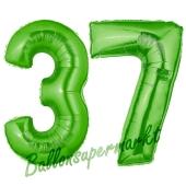 Zahl 37 Grün, Luftballons aus Folie zum 37. Geburtstag, 100 cm, inklusive Helium
