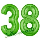 Zahl 38 Grün, Luftballons aus Folie zum 38. Geburtstag, 100 cm, inklusive Helium