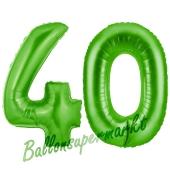 Zahl 40 Grün, Luftballons aus Folie zum 40. Geburtstag, 100 cm, inklusive Helium