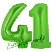 Zahl 41 Grün, Luftballons aus Folie zum 41. Geburtstag, 100 cm, inklusive Helium