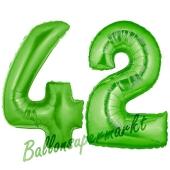 Zahl 42 Grün, Luftballons aus Folie zum 42. Geburtstag, 100 cm, inklusive Helium