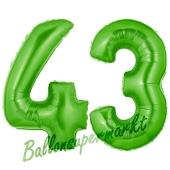 Zahl 43 Grün, Luftballons aus Folie zum 43. Geburtstag, 100 cm, inklusive Helium