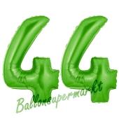 Zahl 44 Grün, Luftballons aus Folie zum 44. Geburtstag, 100 cm, inklusive Helium
