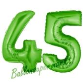 Zahl 45 Grün, Luftballons aus Folie zum 45. Geburtstag, 100 cm, inklusive Helium