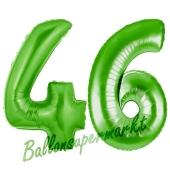 Zahl 46 Grün, Luftballons aus Folie zum 46. Geburtstag, 100 cm, inklusive Helium