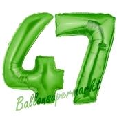 Zahl 47 Grün, Luftballons aus Folie zum 47. Geburtstag, 100 cm, inklusive Helium