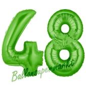 Zahl 48 Grün, Luftballons aus Folie zum 48. Geburtstag, 100 cm, inklusive Helium
