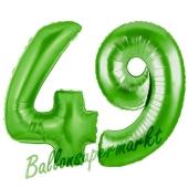 Zahl 49 Grün, Luftballons aus Folie zum 49. Geburtstag, 100 cm, inklusive Helium