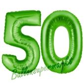 Zahl 50 Grün, Luftballons aus Folie zum 50. Geburtstag, 100 cm, inklusive Helium