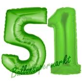 Zahl 51, Grün, Luftballons aus Folie zum 51. Geburtstag, 100 cm, inklusive Helium