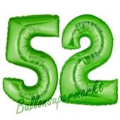 Zahl 52, Grün, Luftballons aus Folie zum 52. Geburtstag, 100 cm, inklusive Helium