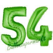 Zahl 54, Grün, Luftballons aus Folie zum 54. Geburtstag, 100 cm, inklusive Helium