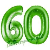 Zahl 60, Grün, Luftballons aus Folie zum 60. Geburtstag, 100 cm, inklusive Helium