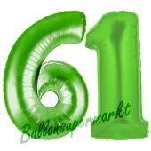 Zahl 61, Grün, Luftballons aus Folie zum 61. Geburtstag, 100 cm, inklusive Helium