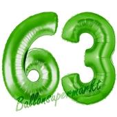 Zahl 63, Grün, Luftballons aus Folie zum 63. Geburtstag, 100 cm, inklusive Helium