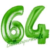 Zahl 64, Grün, Luftballons aus Folie zum 64. Geburtstag, 100 cm, inklusive Helium