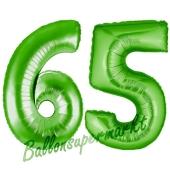 Zahl 65, Grün, Luftballons aus Folie zum 65. Geburtstag, 100 cm, inklusive Helium