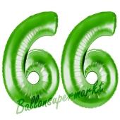 Zahl 66, Grün, Luftballons aus Folie zum 66. Geburtstag, 100 cm, inklusive Helium