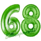 Zahl 68, Grün, Luftballons aus Folie zum 68. Geburtstag, 100 cm, inklusive Helium