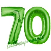 Zahl 70 Grün, Luftballons aus Folie zum 70. Geburtstag, 100 cm, inklusive Helium