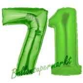 Zahl 71, Grün, Luftballons aus Folie zum 71. Geburtstag, 100 cm, inklusive Helium