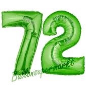 Zahl 72, Grün, Luftballons aus Folie zum 72. Geburtstag, 100 cm, inklusive Helium
