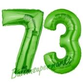 Zahl 73, Grün, Luftballons aus Folie zum 73. Geburtstag, 100 cm, inklusive Helium