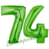 Zahl 74, Grün, Luftballons aus Folie zum 74. Geburtstag, 100 cm, inklusive Helium