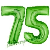 Zahl 75, Grün, Luftballons aus Folie zum 75. Geburtstag, 100 cm, inklusive Helium