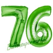 Zahl 76 Grün Luftballons aus Folie zum 76. Geburtstag, 100 cm, inklusive Helium