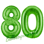 Zahl 80 Grün, Luftballons aus Folie zum 80. Geburtstag, 100 cm, inklusive Helium