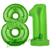 Zahl 81 Grün Luftballons aus Folie zum 81. Geburtstag, 100 cm, inklusive Helium