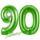 Zahl 90 Grün Luftballons aus Folie zum 90. Geburtstag, 100 cm, inklusive Helium
